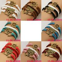 Handmade Braided Multilayer Rudder Leather Bracelets, Fashion Vintage Double Heart and Love Bracelet