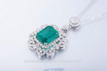 Natural Emerald Pendant 10.47x12.80mm 18Kt White Gold Luxury Diamond Pendant