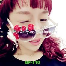 New glasses frame 3D fimo flower roses ornament glasses woman sunglasses