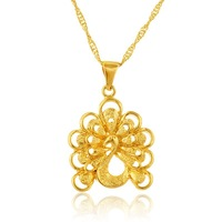 2015 yiwu fashion 24k gold Peacock charm pendant gold pendants best friend forever pendant wholesale