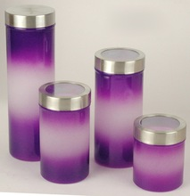 Set 4 PCS Swing Top Foodstuff Contact Colored Glass Herb Storage Jars