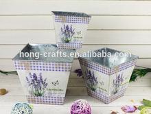 2014 New Design paper decal square metal zinc planter wholesale