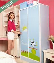 No-smell double sliding doors bedroom furniture plastic wardrobe closet, DIY high-grade fashionable wardrobe storage