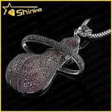 large hip hop cartoon cz 316l stainless steel custom logo pendant