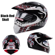Motorcycle Motocross Off Road black red skull Helmet Dual Visors Lens ATV Dirt Bike Racing Gear