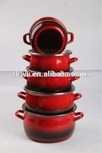 Promotion bright color printing enamel casserole cookware enamelware