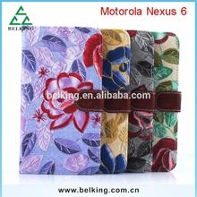 For Motorola Nexus 6 leather case, flower case for Motorola Nexus 6