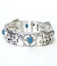Wholesale Costume Jewelry Horse with turquoise stone metal bracelet