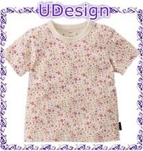 Summer flower printing baby tshirts 100 cotton boy tshirt boy cheap label design tshirt