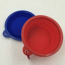 Pocket Foldable foldable dog water bowl with Carabiner Clip