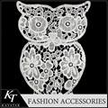 Ingrosso gufo simpatico disegno del pizzo decorazione accessori 100% panno di patch di cotone tessuto di pizzo trim patch applique