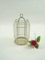 Vintage decoration metal wire white hurricane lantern for wedding