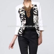 2015 Fashion casual white printed plus size wholesale women jacket