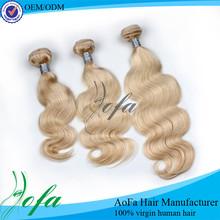 Natural blonde curly human hair extensions virgin mongolian hair