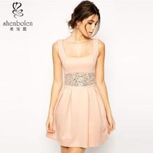 2015 gioiello abbellimento vita scollo quadrato chiusura lampo posteriore vestito