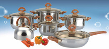 12pcs cookware set stainless steel with removable handle