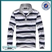 hot sale long sleeve stripe 100% cotton heavy weight polo shirt 200 gsm polo t-shirt 100% hemp polo shirt for man