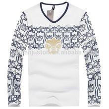 100% cotton men long sleeve print t shirt, fashion men casual v neck t shirt, high quality blouses tops