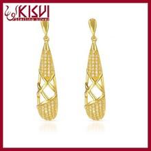 golden earring designs for women, beautiful design electroplating gold earrings jewelry wholesale