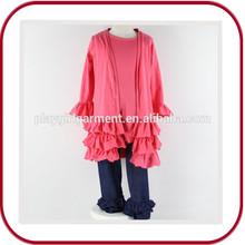 2015 hot selling pink aqua ruffle pants girl clothing set PGGD-0632