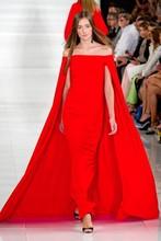 Famous designer 2015 Sexy Portrait chiffon evening dress elegant party dress with beautiful cape free shipping