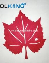 red leaf shape 3mm felt coaster