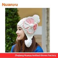 Women's Acrylic Pom Knit Beanie Hat With Top Ball