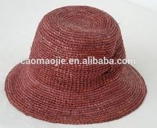 Hot Seller Real Handmade 2015 Fashion Natural Raffia Straw Crochet Hat For Women