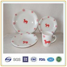 stoneware dinnerware for christmas with handpainted elk