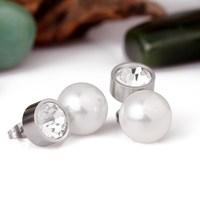 fashion ladies pearl earrings stainless steel pressed earrings