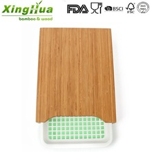 bamboo cutting board with plastic tray