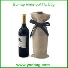 Colorful Single Burlap Wine Bottle Bag/Jute Bottle Holder Custom
