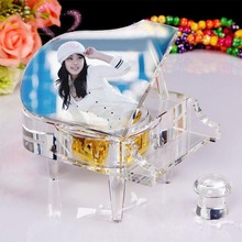 Elegant optical glass classics piano crystal music box with yourself picture