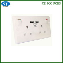 top quality UK Style standrad double usb wall socket double american socket