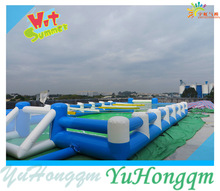 Human Table Inflatable Football Field ,Cheap Inflatable Soap Soccer Pitch For Adult Outdoor Field