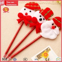 Cute aniaml top ballpoint pen plastic and plush pen Christmas giveaway thin decoritive ballpoint pens