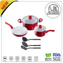 8PCS Pressed Non-stick Aluminum Ceramic Coating Elegant Cookware Set