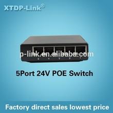 factory direct sale mini poe switch 5 port passive 24V design
