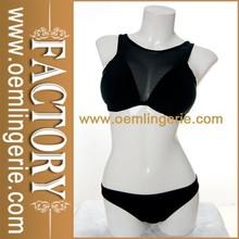 2015 Hot Sale Cut Out Back Hot Black Sheer Extreme Bikini Model Sexy Mesh Bikini
