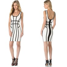 2015 Girls Cocktail Dresses Sexy Black and White Party Dress
