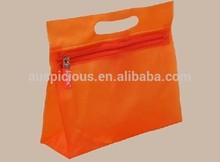 die cut handle PVC orange zipper bag