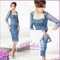 Sexy azul curto Rhinestone frisada Illusion Sheer manga três quartos vestido de noite com jaqueta de renda