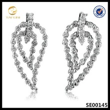 China wholesales micro pave heart dangle earring,fashion sterling silver jewelry
