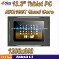 Baratos 13.3 polegadas quad core tablet pc com alta resolução 1280x800 dual câmera de 2mp wifi blutooth usb port 4.4 android