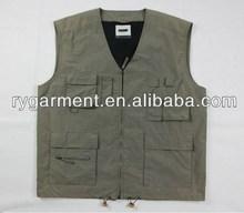 Hot Sell ! New style Fishing vest ,v-neck Multi Zipper Secured Pockets