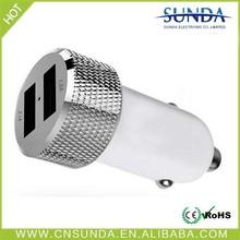 Aluminum case 2 usb port promotional portable dual usb car charger