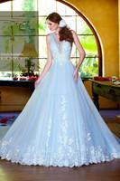 2015 Sexy v neck a line lace appliqued light blue wedding dress