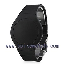 Black round silicone case thin rubber band children cheapest waterproof watch
