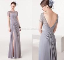 New Fashion Fantastic Beading Short Sleeve 2015 Elegant Slite Evening Dress Online Shopping