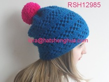 (RSH12985) Pink Pom Pom Turquoise Lace Knitted Hat
